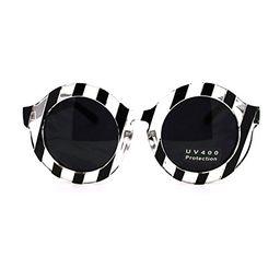 Runway Fun Stripe Thick Plastic Round Circle Fashion Womens Sunglasses Black   Amazon (US)