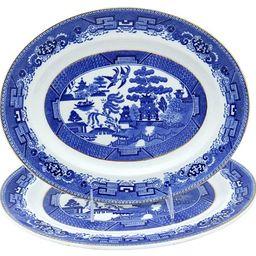 English Willow Pattern Platters, Pair   One Kings Lane