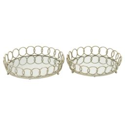 Modern Reflections Iron and Glass Mirror Round Ring Tray Set 2ct - Olivia & May | Target
