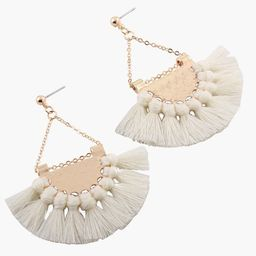 European Fashion Fan-shaped Gothic Tassel Earrings Ear Drops Women Jewelry White   Walmart (US)