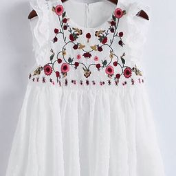 Flower Embroidery Pleated Hem Ruffle Trim Top   SHEIN