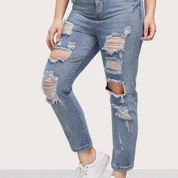 Bleach Wash Extreme Distressing Jeans | SHEIN
