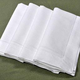 "White Linen Hemstitched Dinner Napkins- Set of 4 18"" X 18"" Ladder Hem Stitch Cloth Napkin   Amazon (US)"