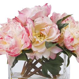 Faux Peonies in Square Glass Vase   Pottery Barn (US)