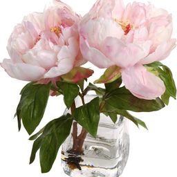 Faux Peony Floral Arrangement in Vase   Wayfair North America