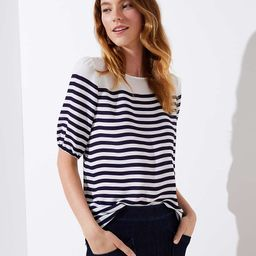 Striped Elbow Sleeve Blouse | LOFT