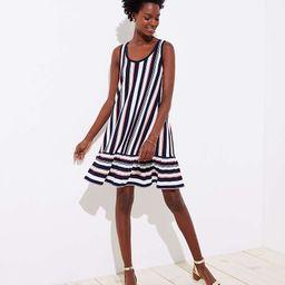 Striped Flounce Sleeveless Swing Dress | LOFT