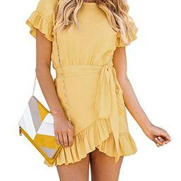 Yobecho Womens Summer Short Sleeve Ruffles Tunic Party Shift Wrap Short Dresses (Small, Yellow) | Amazon (US)