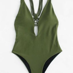 Backless Woven Swimsuit   SHEIN
