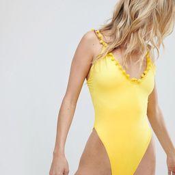 PrettyLittleThing Pom Pom Trim Swimsuit   ASOS US