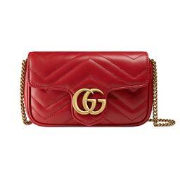 GG Marmont matelassé leather super mini bag red | Gucci (US)