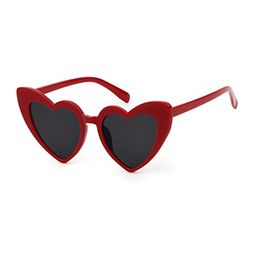 BOLD Retro Heart MOD Thick Frame Clout Goggles Cat Eye Lens Sunglasses (Grey lense Red frame, 50) | Amazon (US)