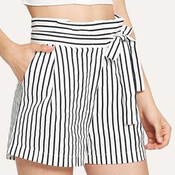 Knot Side Striped Shorts   SHEIN