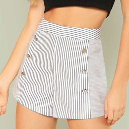 Button Embellished Striped Shorts   SHEIN