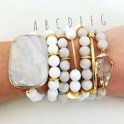 Beaded Bracelet Stack - faceted white jade and faceted grey agate mix - Choose individually or purch   Etsy (US)