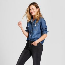 Women's Labette Denim Shirt Long Sleeve Button-Down Shirt - Universal Thread Dark Wash XS, Blue | Target
