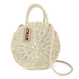 Women Straw Summer Beach Bag Handwoven Round Rattan Bag Cross Body Bag Shoulder Messenger Satchel   Amazon (US)