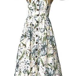 Allfennler Women's Dress Summer Bohemian Spaghetti Strap Button Down Swing Floral Midi Maxi Dress wi | Amazon (US)