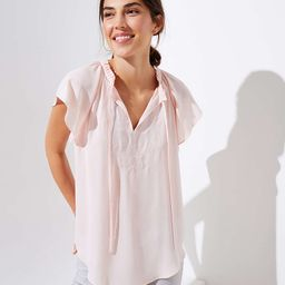 Embroidered Ruffle Tie Neck Top | LOFT