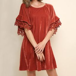 Burnt Orange Velvet Lace-Accent Dress - Women | Zulily