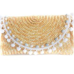 White Pom Pom Straw Clutch/ Embellished with Marble Acrylic Gems/Wicker Purse/Woven/Boho Style | Etsy (US)