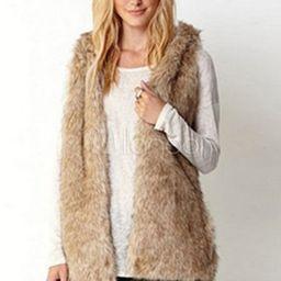 Women Faux Fur Vest Sleeveless Hooded Pockets Women Faux Fur Gilet | Milanoo