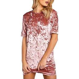 DYMADE Women's Vintage Crew Neck Short Sleeve Velvet T Shirt Mini Dress Pink Size XL   Walmart (US)