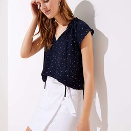 Petite Starry Sky Ruffle Tie Neck Top | LOFT