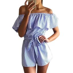 Roselux Women's Striped Ruffle Sleeveless Off Shoulder Tie Front Sexy Short Rompers Jumpsuit   Amazon (US)