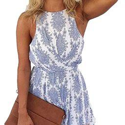 LUKYCILD Women Sexy Strap Backless Summer Beach Party Romper Jumpsuit | Amazon (US)