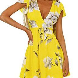 Vaniglia Women Floral Print Sleeve Sexy Deep V-Neck Tunic Top Casual Mini Dress   Amazon (US)