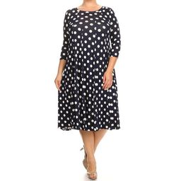 Women's Rayon and Spandex Plus-size Polka-dot Dress | Overstock