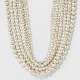 petiteShort Faux Pearl Multi Row Necklace - A New Day White, Women's | Target