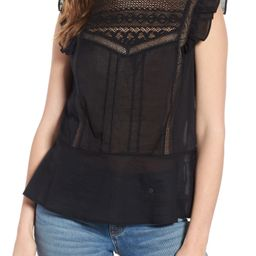 Hinge Mixed Lace Peplum Top | Nordstrom