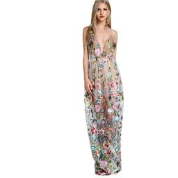 SHEIN Double Strap Embroidered Mesh Overlay Dress Multicolor Spaghetti Strap Dee | eBay US