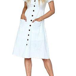 Women's Sundress Short Sleeve Summer V Neck Button Down Swing A Line Midi Dress with Pockets | Amazon (US)