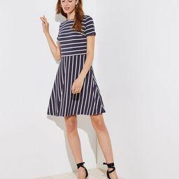 Striped Cutout Back Flare Dress | LOFT | LOFT