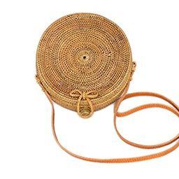 Bali Harvest Round Woven Ata Rattan Bag with Bow Clasp | Amazon (US)