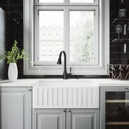 VIGO All-in-One 30 in. 0-Hole Farmhouse Kitchen Sink and Graham Matte Black Faucet Set-VG15453 - The   The Home Depot