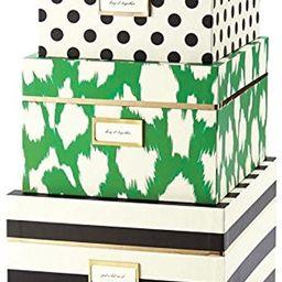 kate spade new york Nesting Boxes (Set of 3), Black Stripe/Painterly Cheetah (Ikat) Green   Amazon (US)