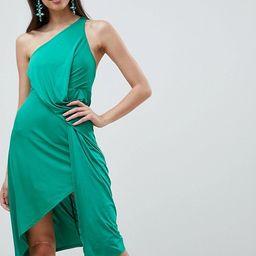 ASOS DESIGN one shoulder slinky drape front midi dress | ASOS US