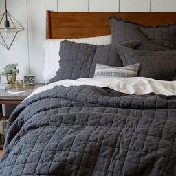 Belgian Linen Quilt, Full/Queen, Slate   West Elm (US)