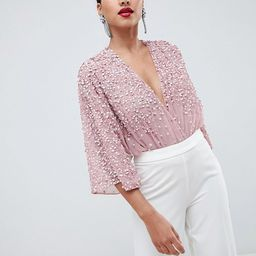 ASOS DESIGN body with kimono sleeve with sequin embellishment | ASOS US