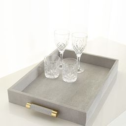 Classic Dove Faux-Shagreen Serving Tray   Neiman Marcus