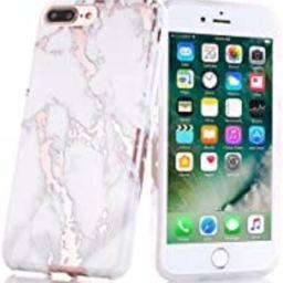 iPhone 7 Plus Case, Shiny Rose Gold White Marble Design, BAISRKE Clear Bumper Matte TPU Soft Rubber    Amazon (US)