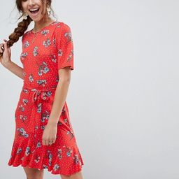 ASOS Tea Dress with V Back and Frill Hem in Red Floral Print   ASOS US