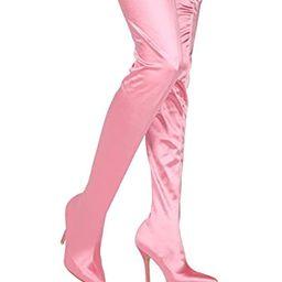 Alrisco Women Satin Thigh High Pointy Toe Stiletto Stocking Boot HE61 | Amazon (US)