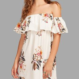 Off Shoulder Random Floral Print Mini Length Dress | YOINS