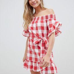 ASOS DESIGN off shoulder frill detail beach dress in red gingham - Red   ASOS US