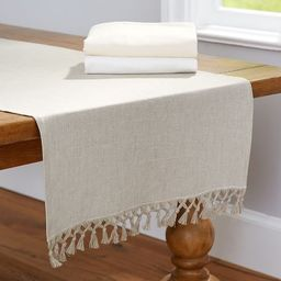 Fringed Linen Knotted Table Runner   Pottery Barn (US)